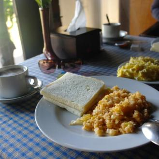 The buffet breakfast at Cafe Lava Hostel