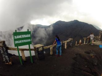 Finally, we reached the crater. What a sight to behold. Smell too.