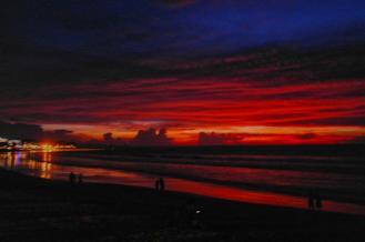Sexy red sunset at Kuta Beach