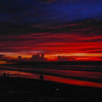 Sexy red sunset at Kuta Beach
