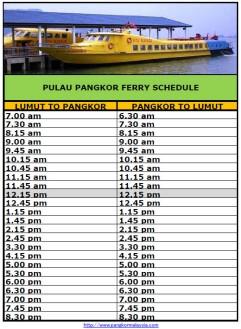 Pangkor Ferry Schedules