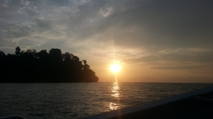 Sunset at the background, Pangkor Laut on the foreground